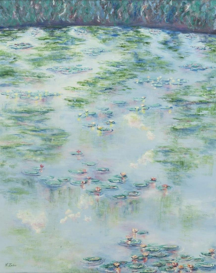 FRAMED WATER LILIES PAINTING, SIGNED K. LONTOS