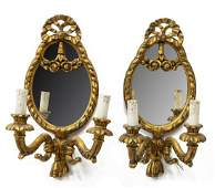 (2) ITALIAN TWO-LIGHT MIRRORED WALL SCONCES