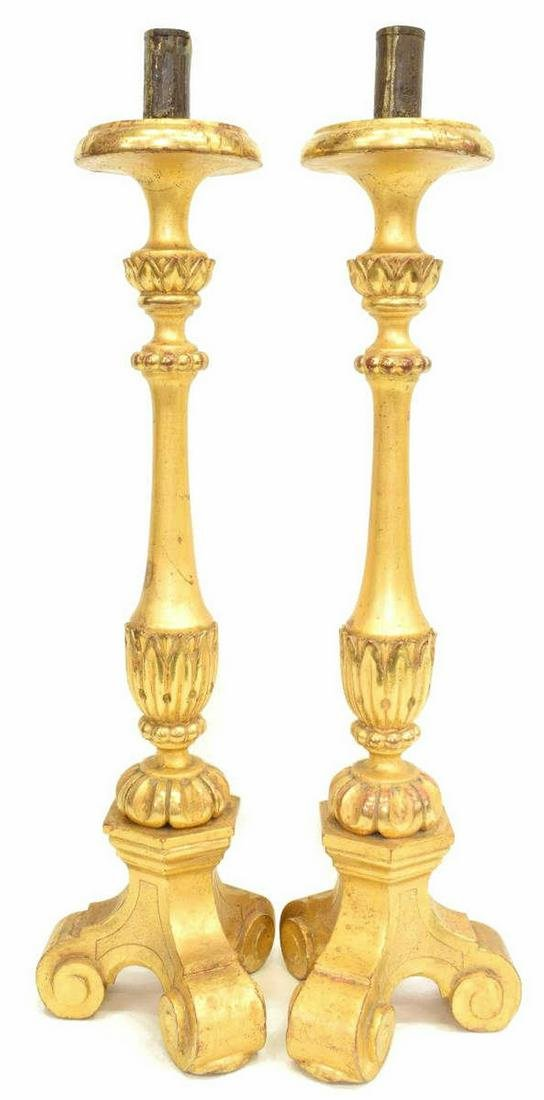 (2) GILTWOOD ALTAR CANDLE PRICKETS CANDLESTICKS