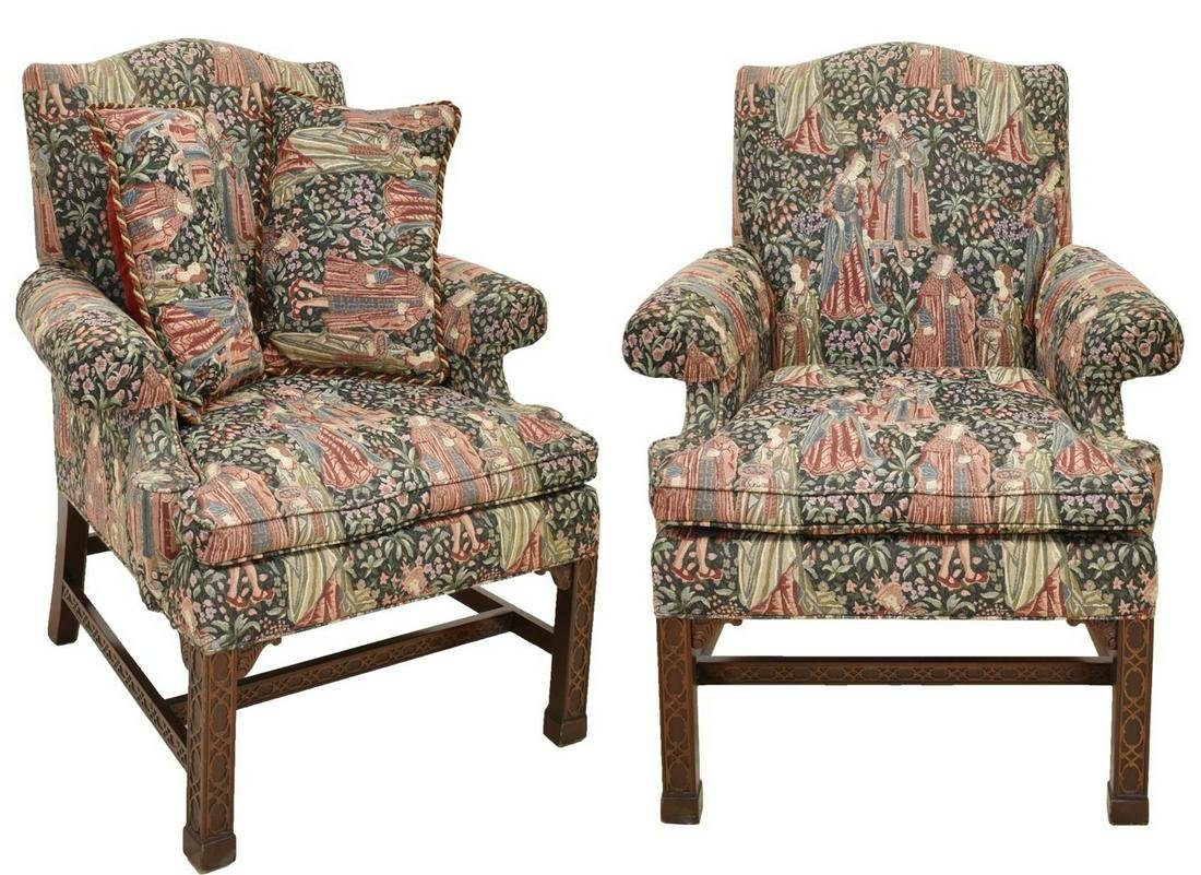 2) CHINESE CHIPPENDALE STYLE UPHOLSTERED ARMCHAIRS