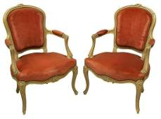 (2) FRENCH LOUIS XV STYLE FLORAL CARVED FAUTEUILS