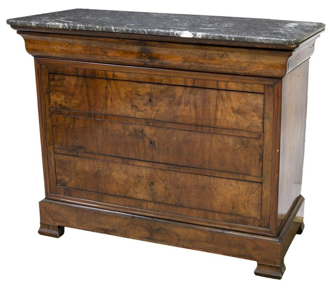 FRENCH CHARLES X STYLE MARBLE-TOP COMMODE