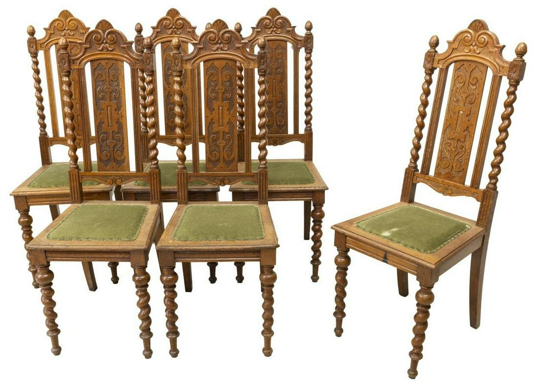 (6) HEAVILY CARVED UPHOLSTERED OAK DINING CHAIRS