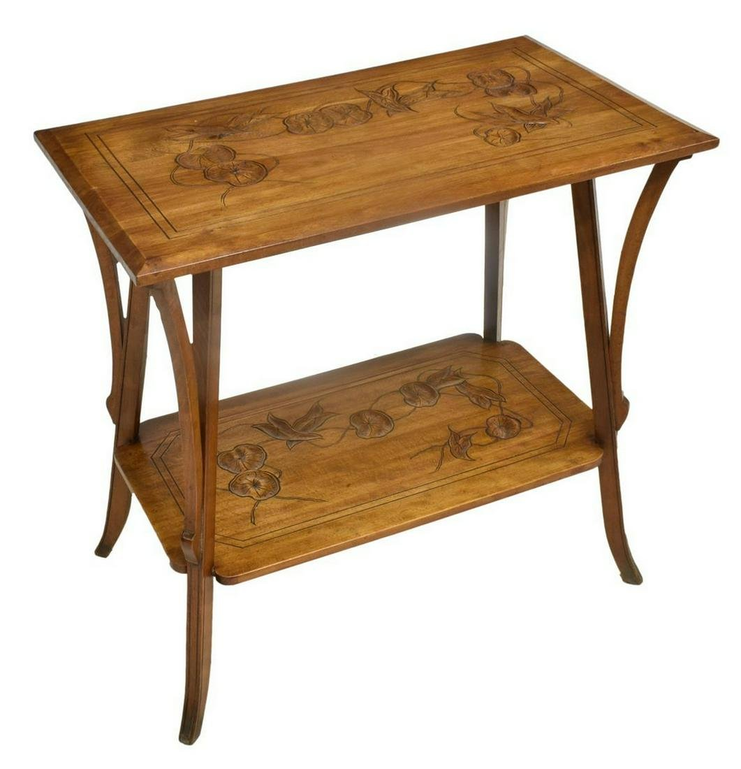 FRENCH ART NOUVEAU CARVED CONSOLE SIDE TABLE