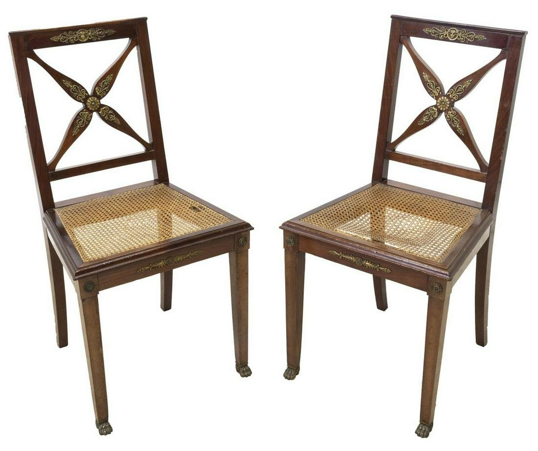 (2) FRENCH EMPIRE STYLE MAHOGANY CANE SEAT CHAIRS