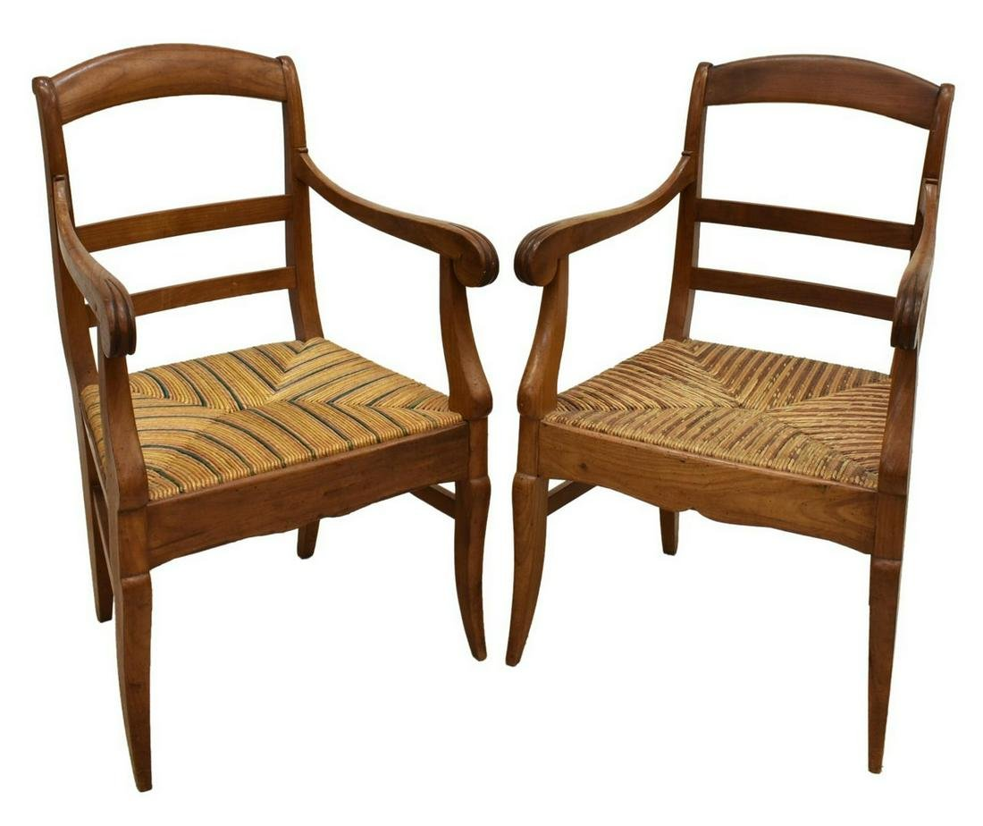(2) FRENCH LOUIS PHILIPPE FRUITWOOD FAUTEUILS