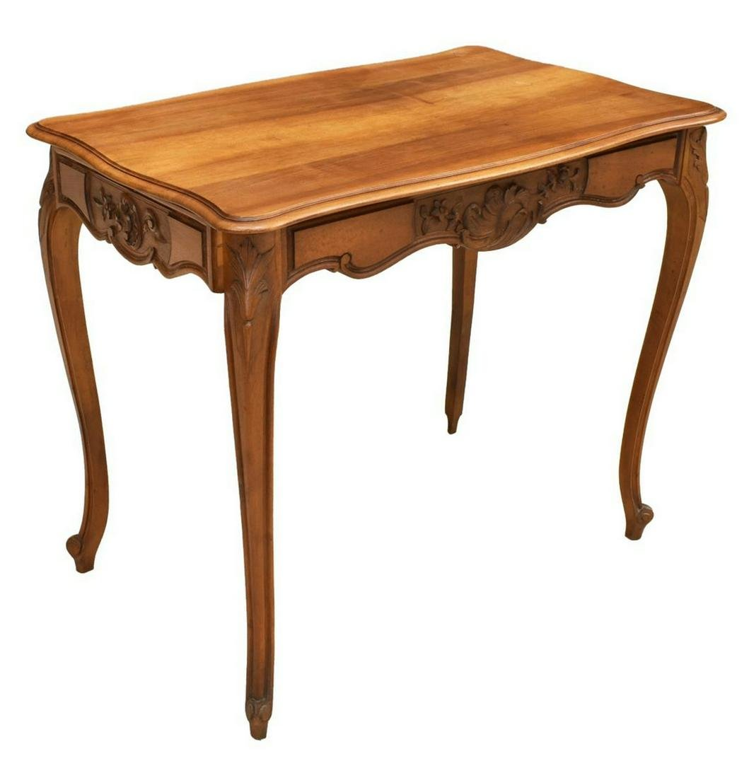 FRENCH LOUIS XV STYLE CARVED LIBRARY TABLE / DESK