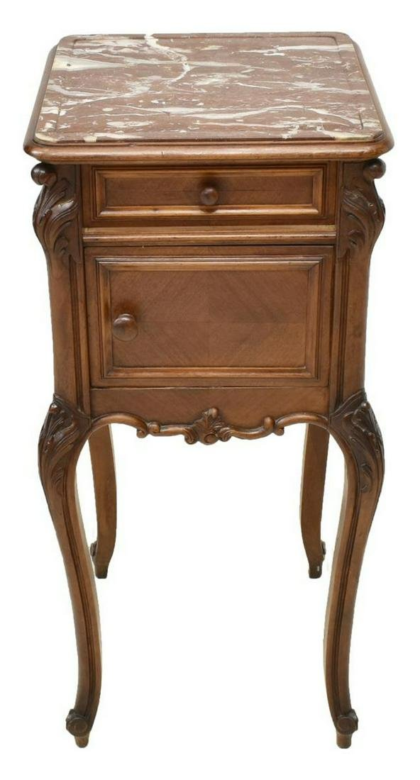 FRENCH LOUIS XV STYLE MARBLE-TOP BEDSIDE CABINET