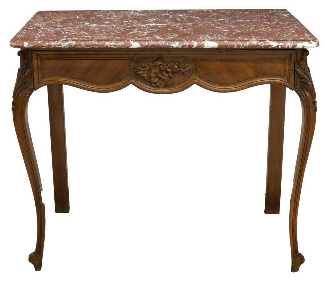 FRENCH LOUIS XV STYLE MARBLE TOP CONSOLE TABLE