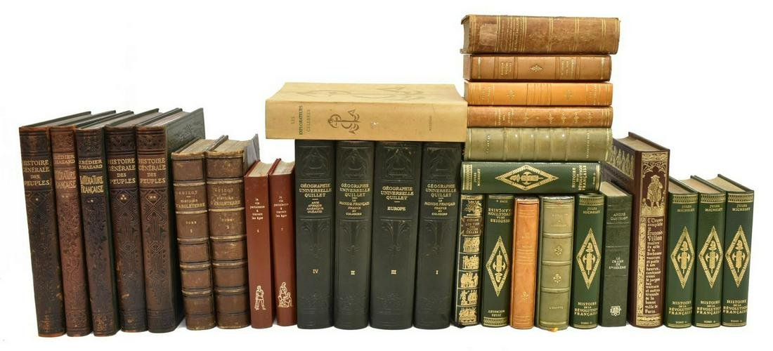 (30) FRENCH LIBRARY SHELF BOOKS