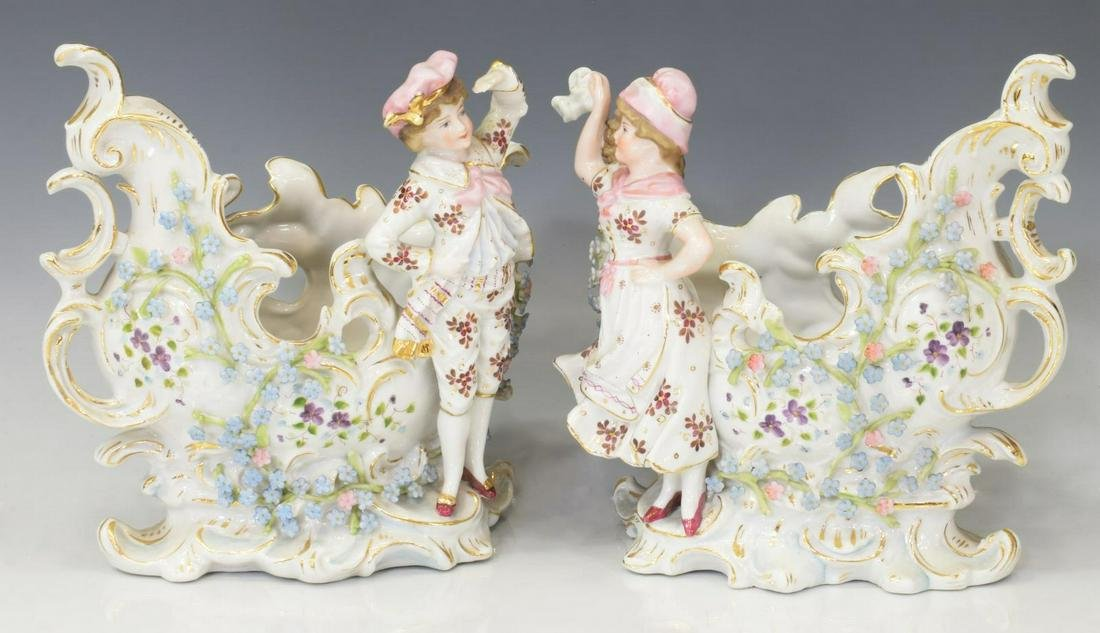 (2) CONTINENTAL PARCEL GILT PORCELAIN GARNITURES