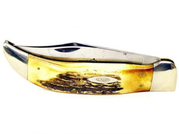 28: CASE XX BULLDOG KNIFE STAG HANDLE WOOD BOX 1960's - 3