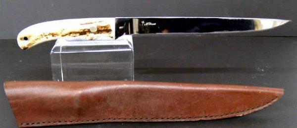 36: CUSTOM BONE HANDLE FIXED BLADE KNIFE