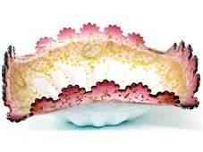 190 VICTORIAN ART GLASS CRANBERRY ENAMELED BRIDES BOWL