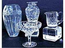 209: GROUP OF WATERFORD CUT CRYSTAL VASES, COMPOTE
