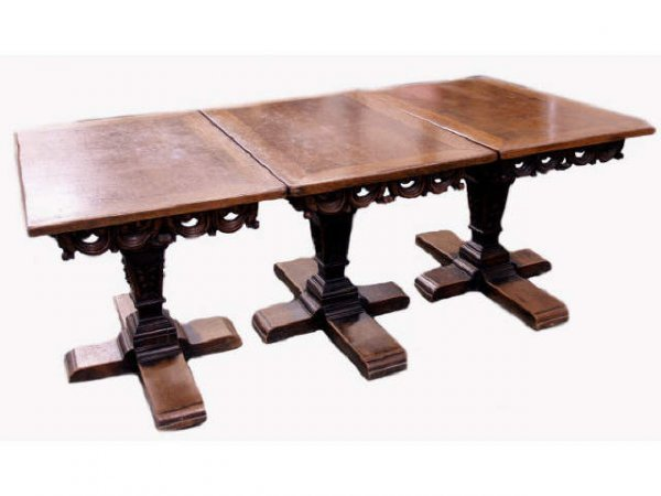 231: CONTINENTAL CARVED OAK THREE PART PEDESTAL TABLE
