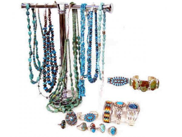 246: STERLING SILVER & TURQUOISE ESTATE JEWELRY LOT