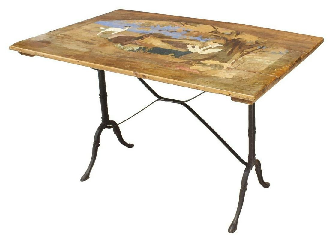 FRENCH FIGURAL PAINTED TOP CAST IRON BISTRO TABLE