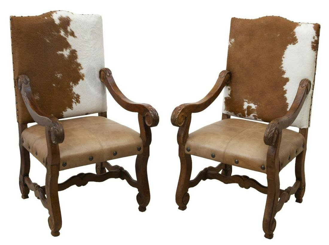 (2) COWHIDE & LEATHER UPHOLSTERED ARMCHAIRS