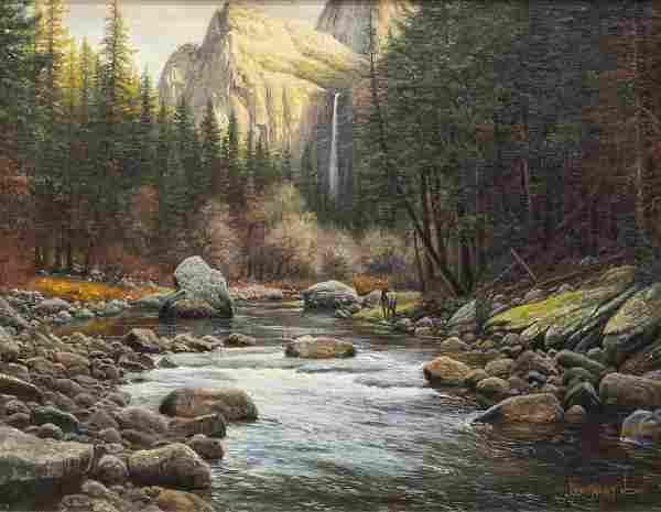 MARK KEATHLEY (B.1963) MOUNTAIN STREAM LANDSCAPE