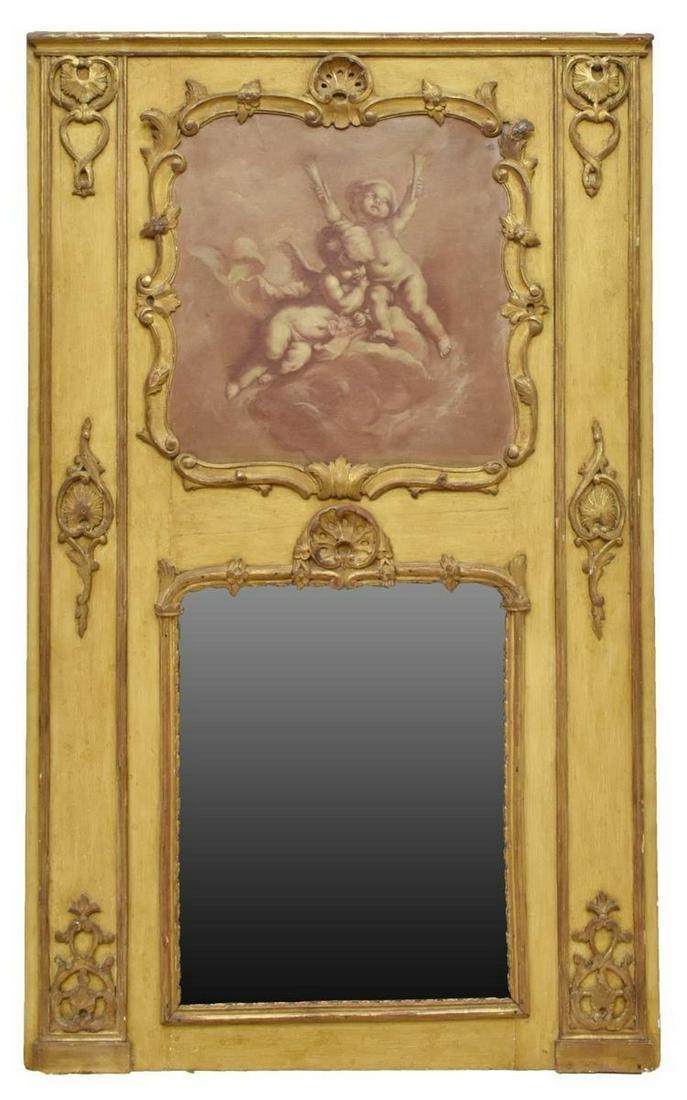 FRENCH LOUIS XVI STYLE PARCEL GILT TRUMEAU MIRROR