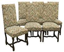 (6) FRENCH LOUIS XIV STYLE HIGH-BACK DINING CHAIRS