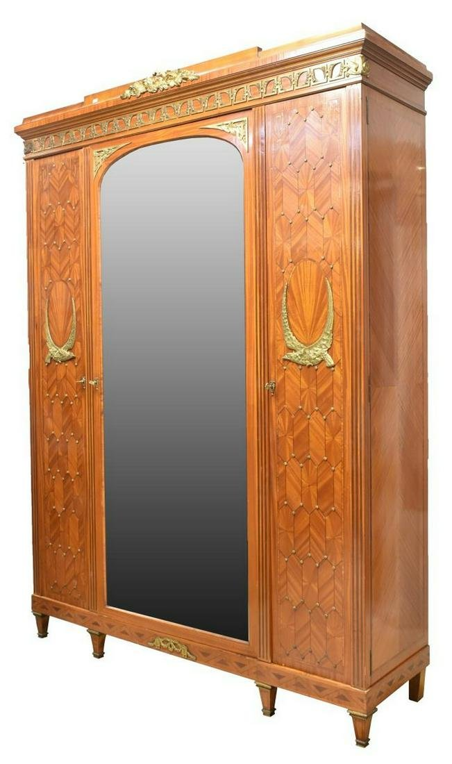 LARGE FRENCH LOUIS XVI STYLE MIRRORED ARMOIRE