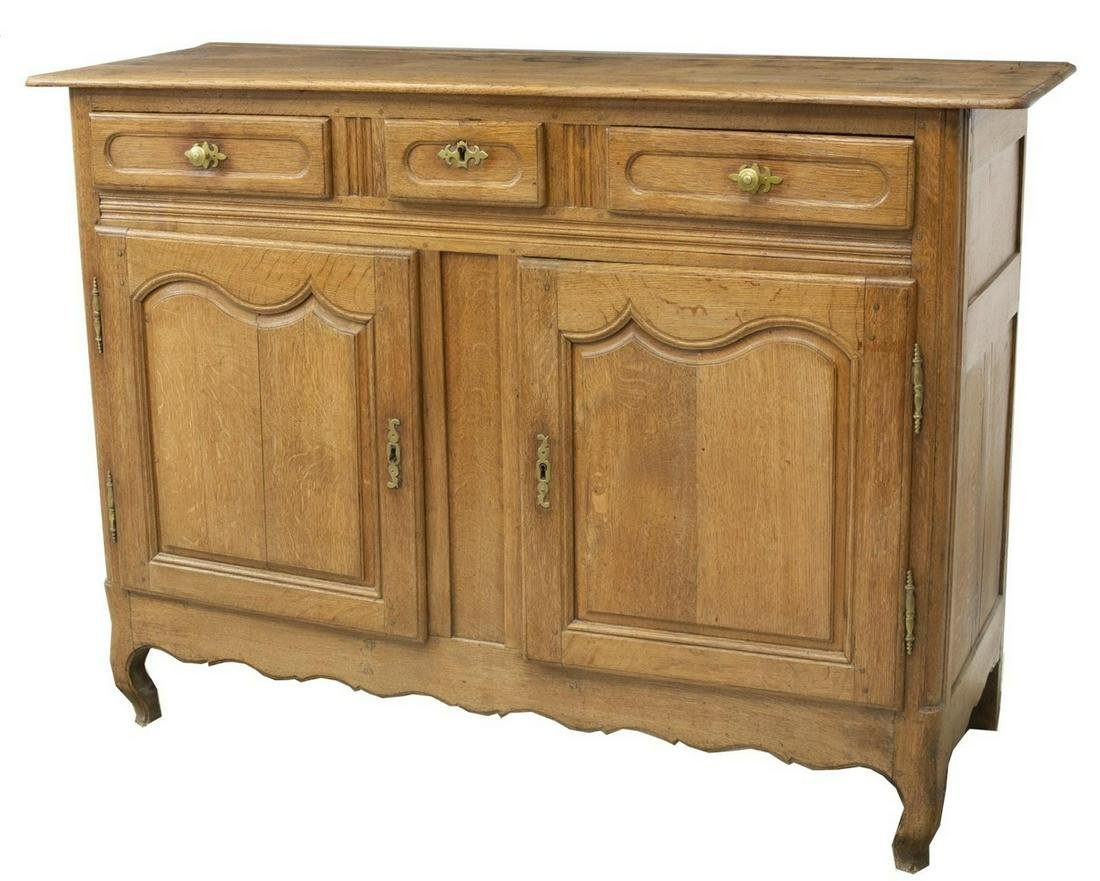 FRENCH PROVINCIAL OAK HIGH SIDEBOARD, EARLY 19TH C