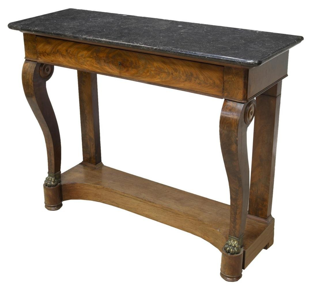 FRENCH EMPIRE STYLE MARBLE-TOP MAHOGANY CONSOLE