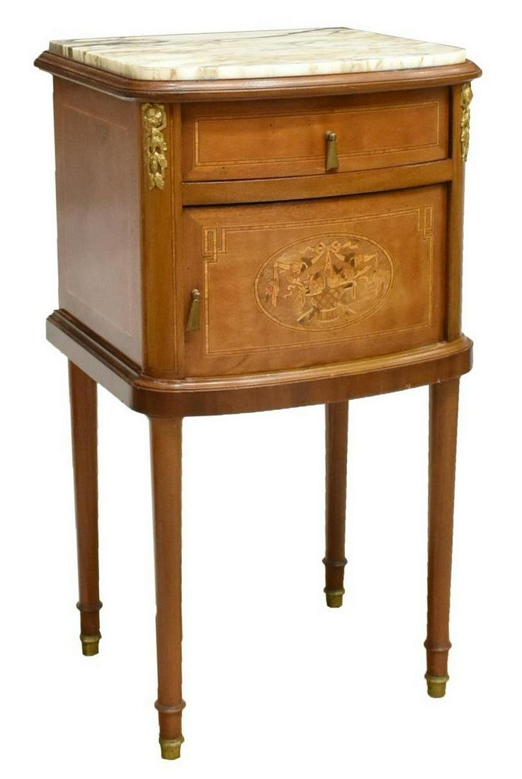 FRENCH LOUIS XVI STYLE MARQUETRY BEDSIDE CABINET