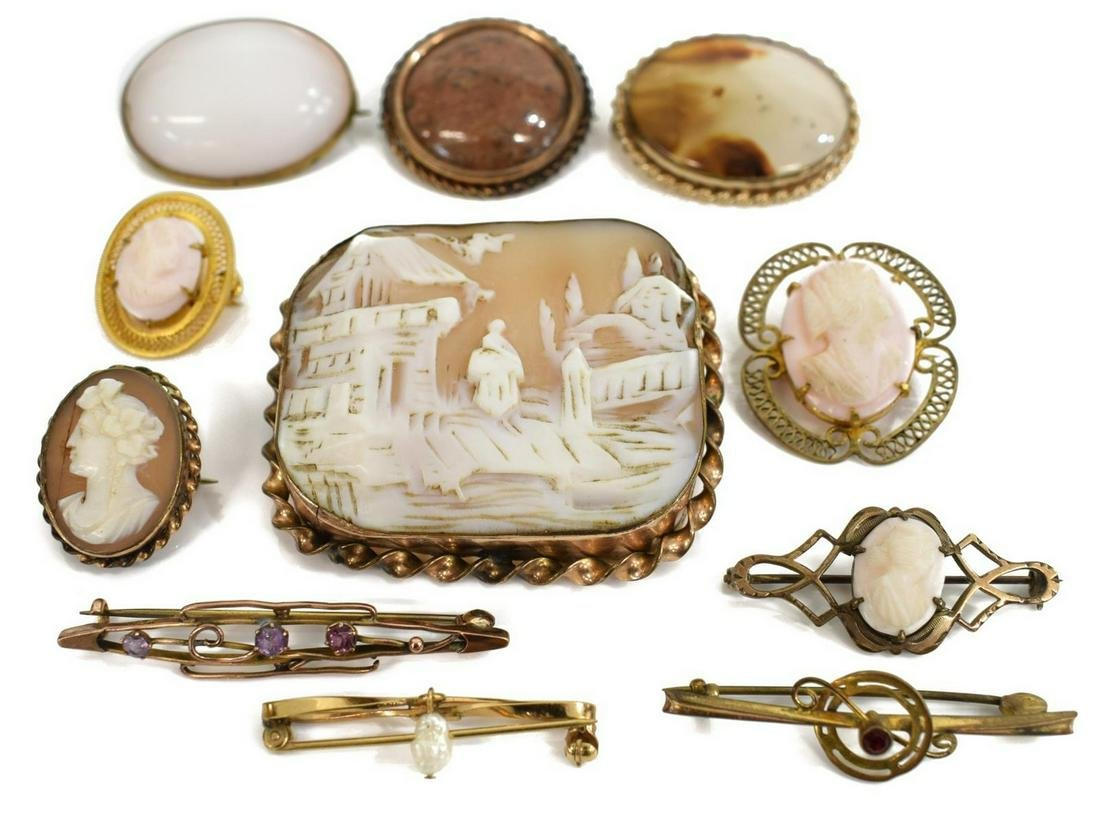 (11) VICTORIAN JEWELRY, CAMEO BROOCHES, AGATE
