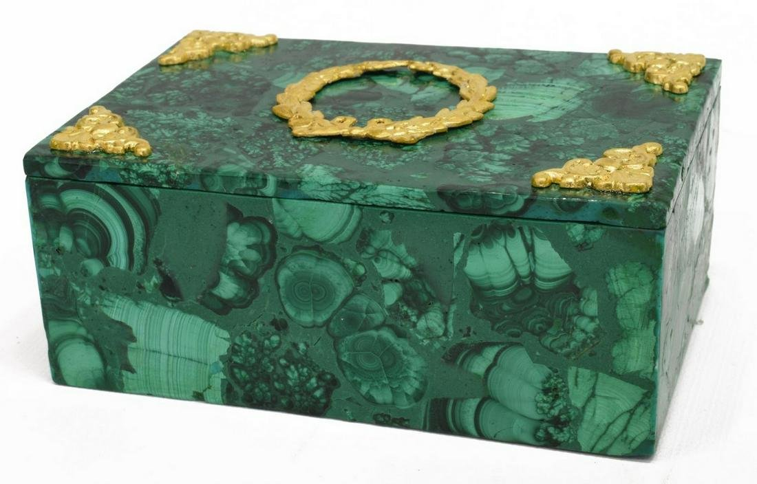 GILT METAL MOUNTED GREEN MALACHITE TABLE BOX