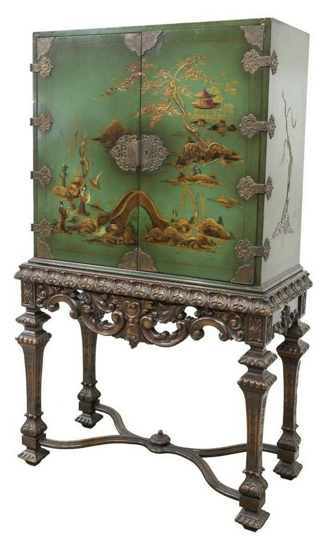 DECORATIVE CHINOISERIE CABINET ON STAND