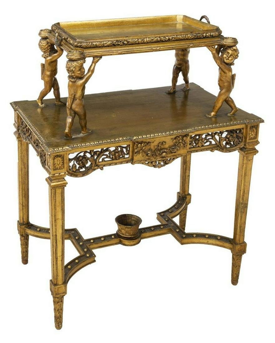LOUIS XVI STYLE GILTWOOD TRAY-TOP SERVICE TABLE