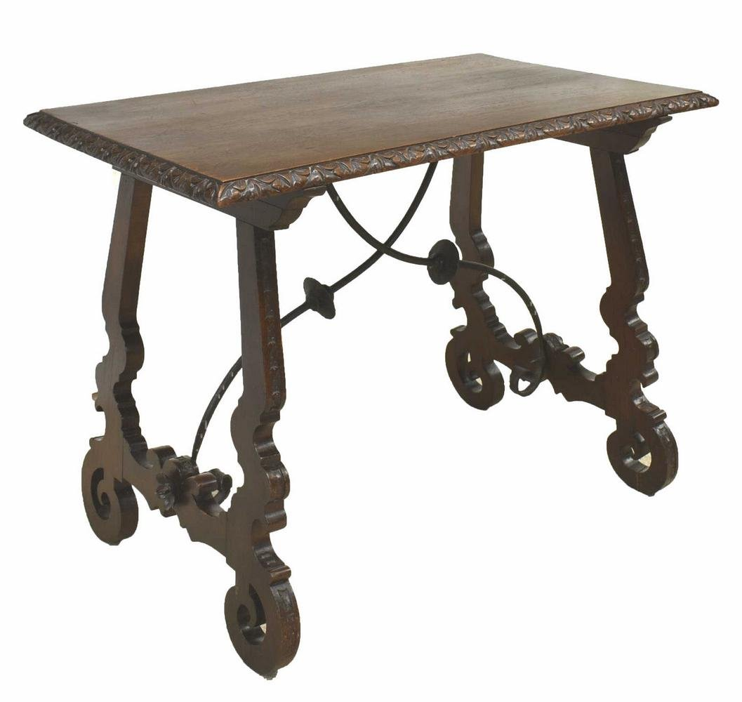 LARGE SPANISH BAROQUE STYLE CARVED WALNUT TABLE
