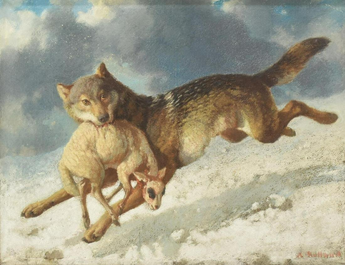 AUGUSTE ROLLAND (1797-1859) PASTEL WOLF W/ SHEEP