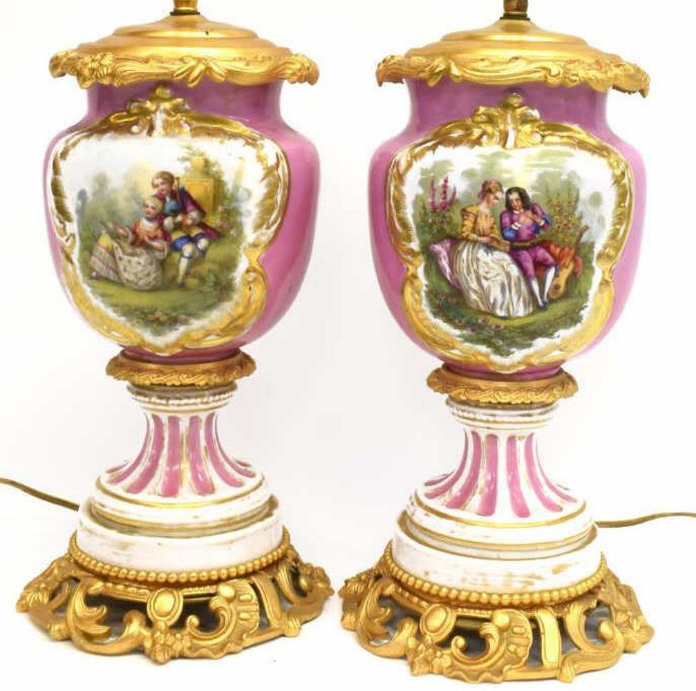 2)GERMAN PAINTED PORCELAIN GILT BRONZE TABLE LAMPS
