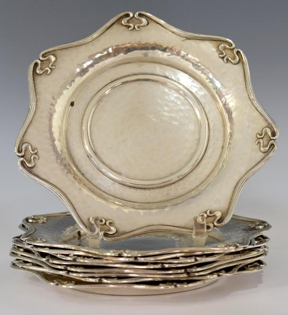 (9) ART NOUVEAU HAMMERED STERLING COASTERS PLATES