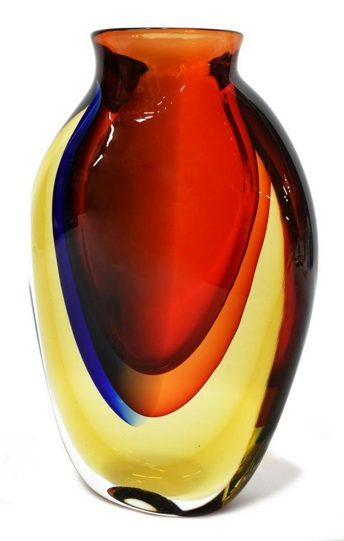 """LUIGI ONESTO SOMMERSO MURANO ART GLASS VASE, 12""""H"""