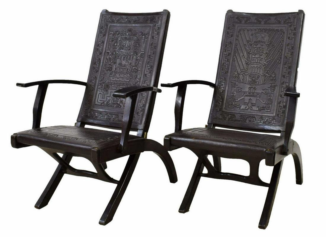 (2) SOUTH AMERICAN MODERN FOLDING LEATHER CHAIRS