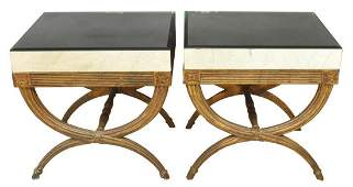 (2) CONTINENTAL DIRECTOIRE MIRRORED SIDE TABLES
