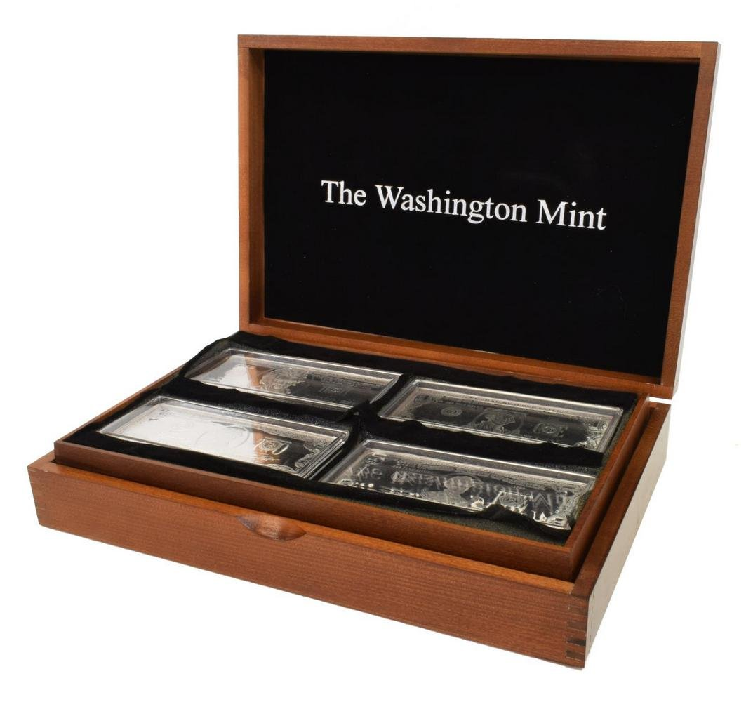 WASHINGTON MINT SILVER BARS, .999 FINE, 32OZT