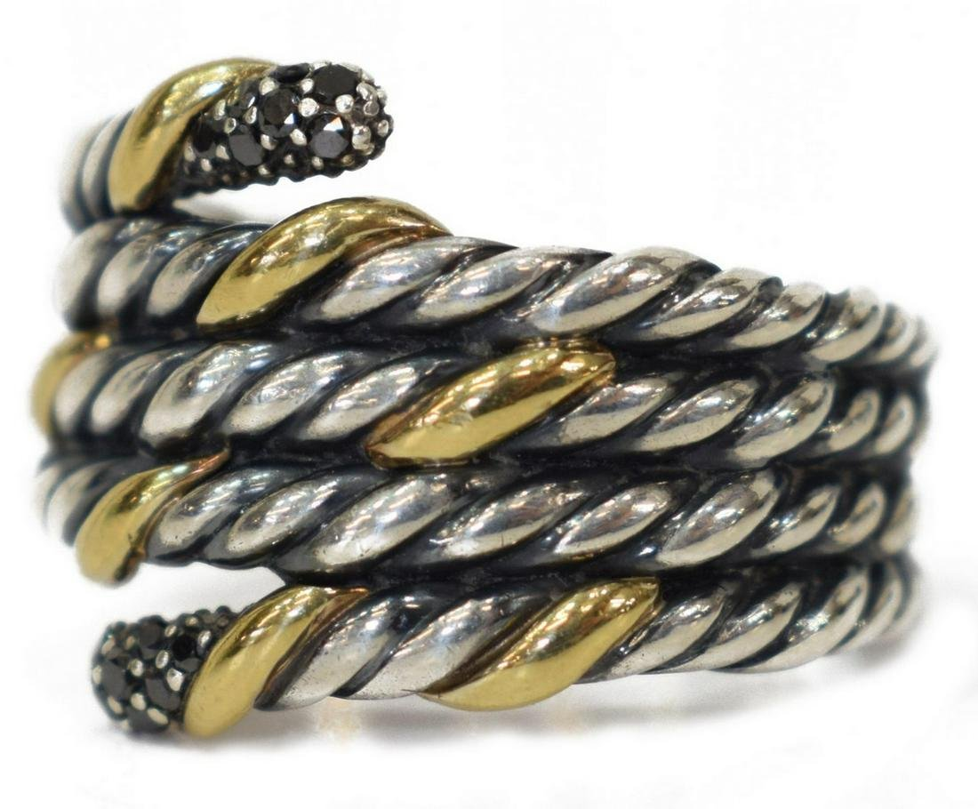 DAVID YURMAN BLACK DIAMOND, 18KT GOLD & 925 RING