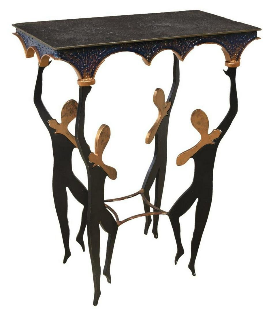 MODERN PARCEL GILT IRON BALLERINA CONSOLE TABLE