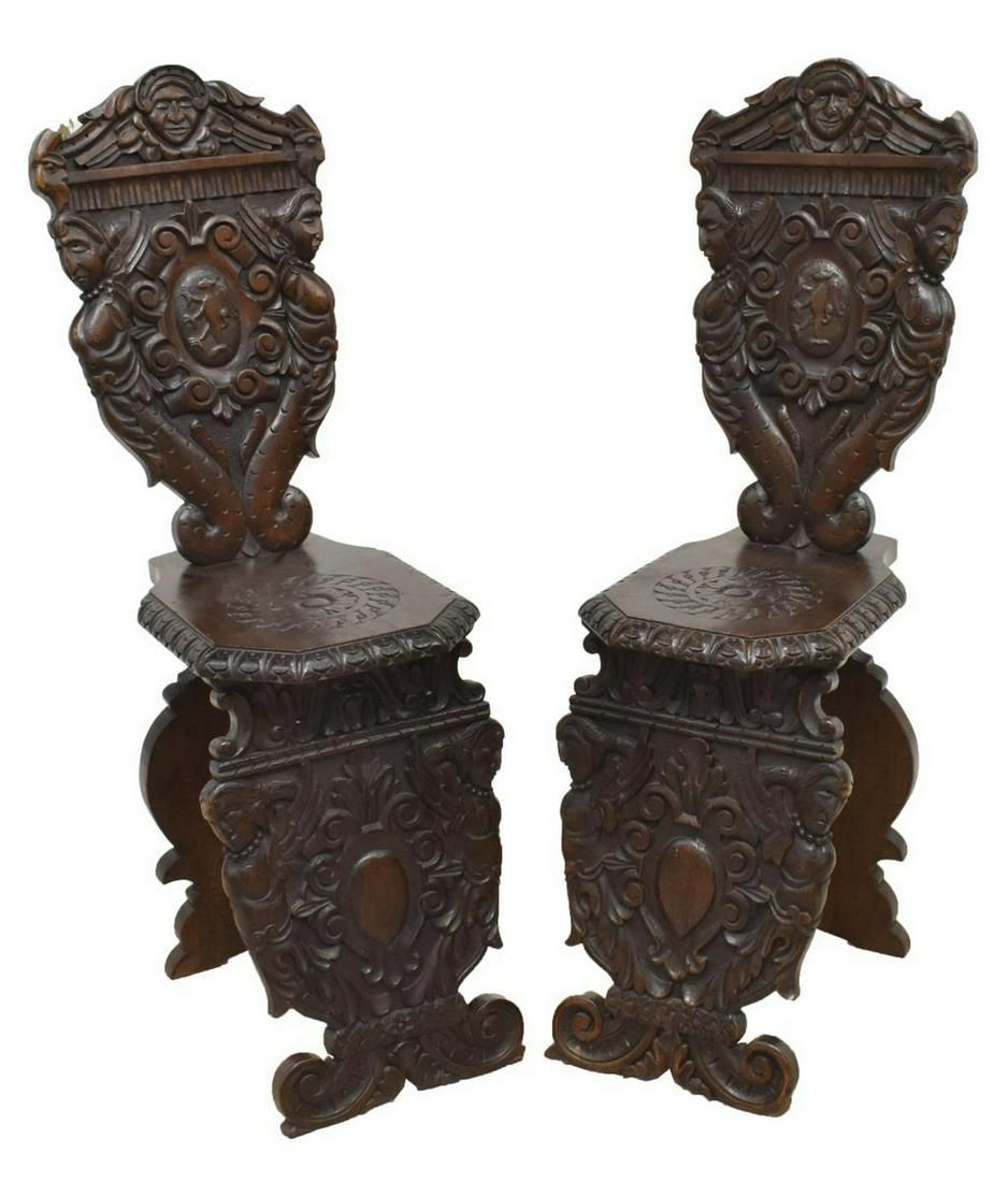 (2) RENAISSANCE REVIVAL CARVED WOOD SIDE CHAIRS