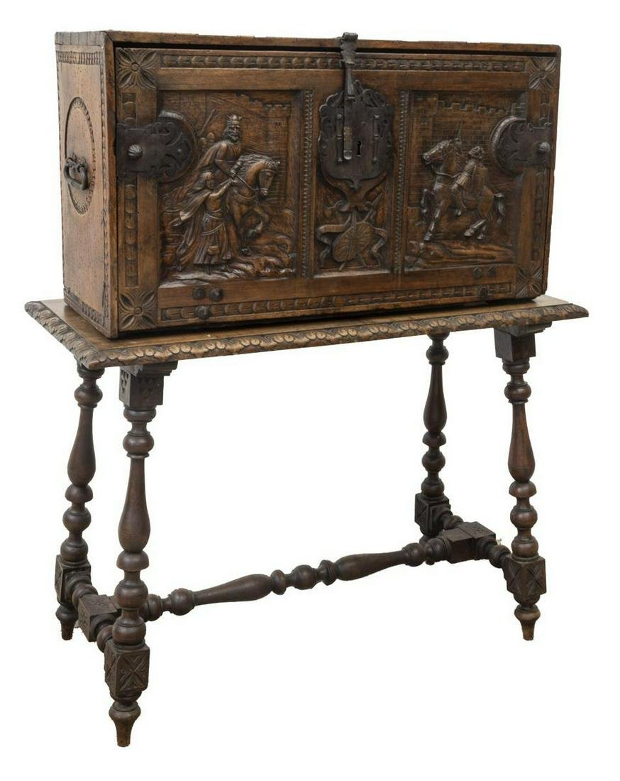 SPANISH CARVED VARGUENO DOCUMENT CHEST ON STAND