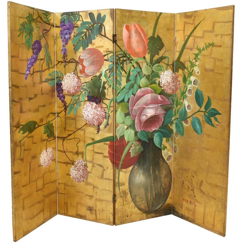 HAND-PAINTED FOUR PANEL FOLDING SCREEN