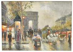 SIGNED CHEVALIER FRENCH STREET SCENE OIL PAINTING