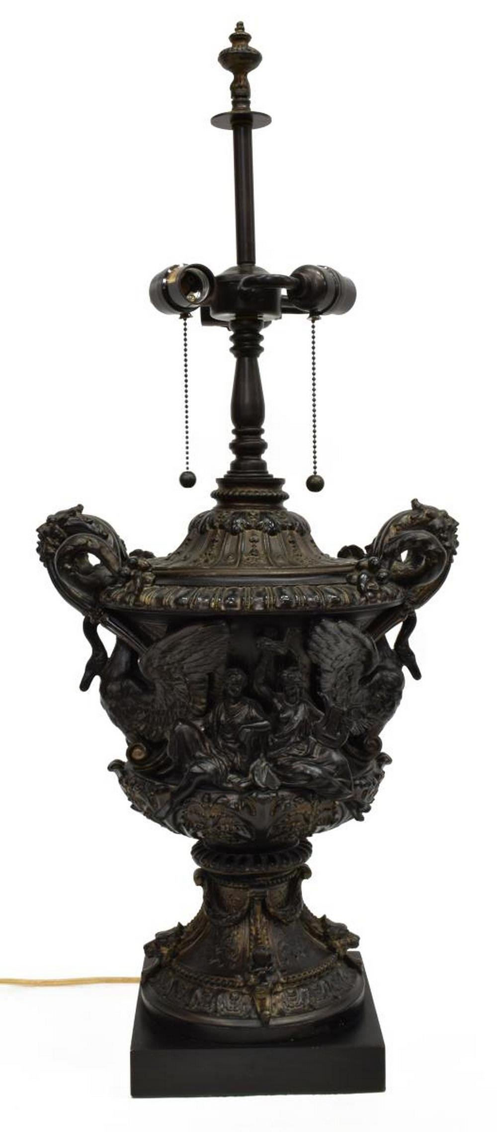 NEOCLASSICAL URN-FORM THREE-LIGHT TABLE LAMP