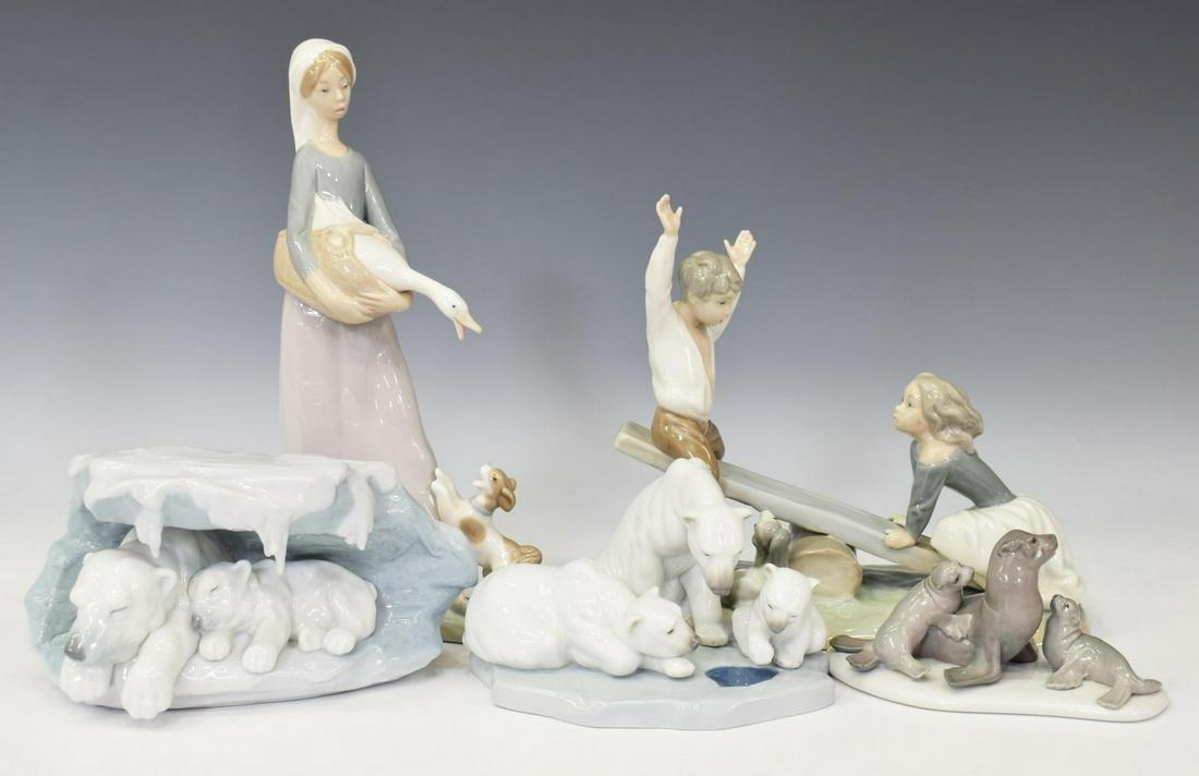 (5) LLADRO PORCELAIN BEAR, SEAL, GIRL & BOY FIGURE